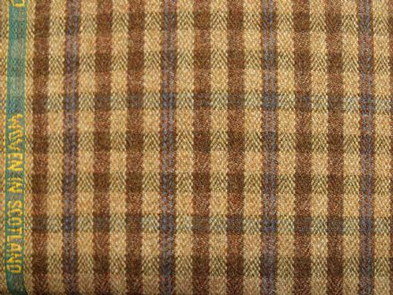 100% Wool Vintage Small Block Check Fabric | Made in Scotland | BZ06